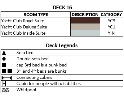 MSC Seaview Deck 16 plan keys