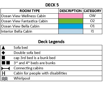 MSC Seaview Deck 5 plan keys