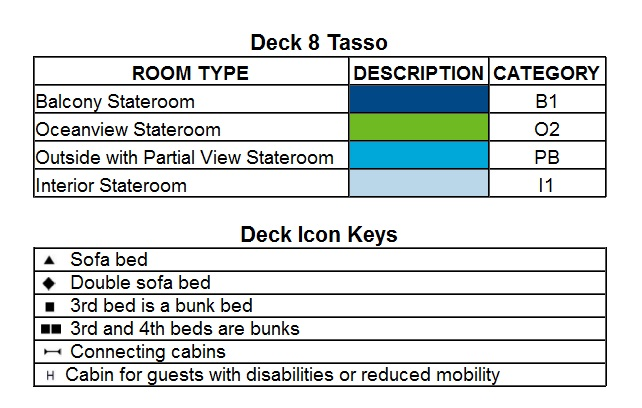 MSC Poesia Deck 8 - Tasso plan keys