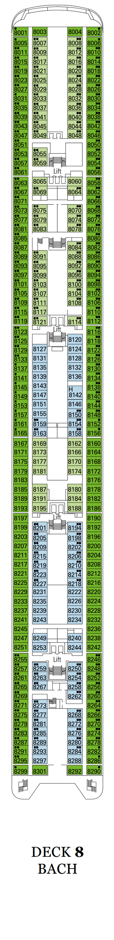 MSC Sinfonia Bach Deck 8 layout