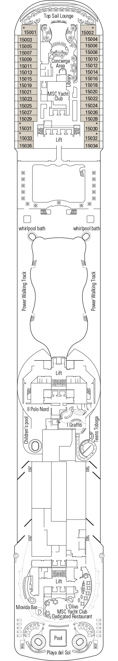 MSC Splendida Deck 15 - Leonardo Da Vinci layout