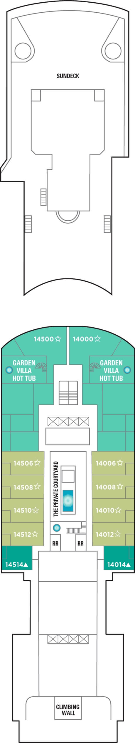 Norwegian Gem Deck 14 layout
