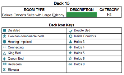 Norwegian Jade Deck 15 plan keys