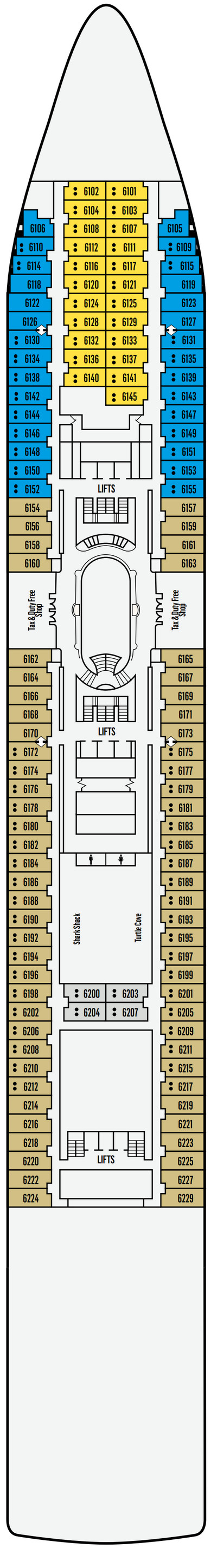 P&O - Pacific Dawn Deck 6 layout
