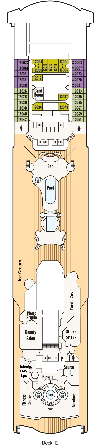 P&O- Pacific Explorer Deck 12 layout