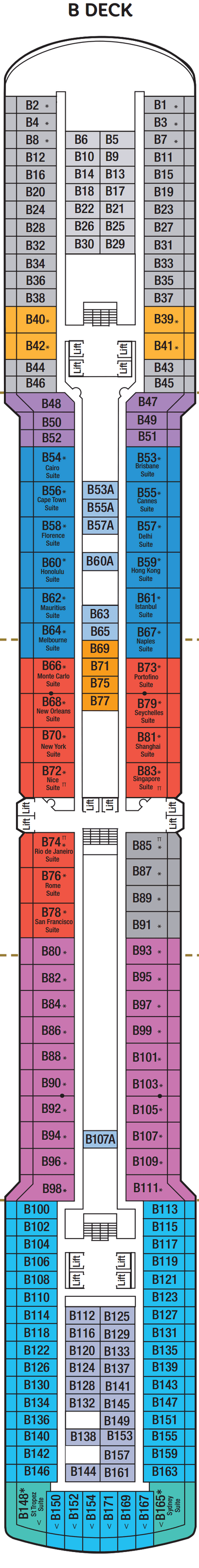 Arcadia B Deck layout