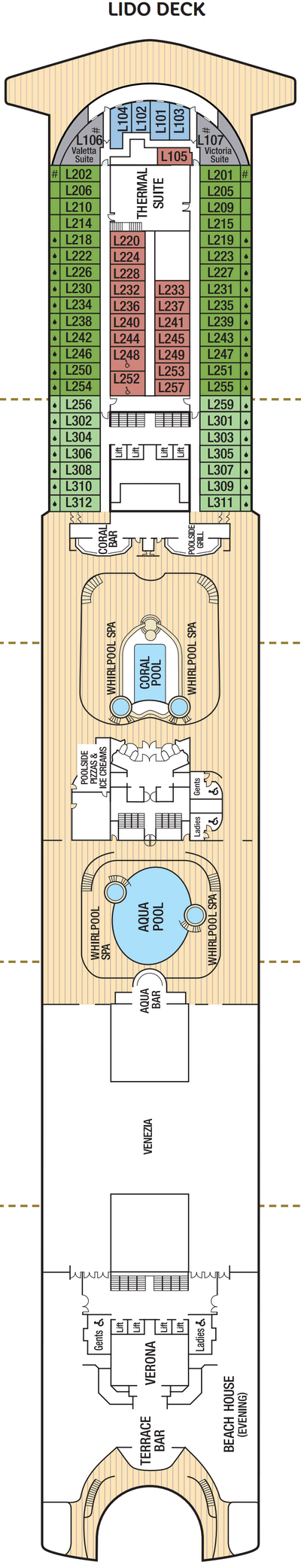 Azura Lido Deck layout