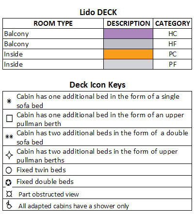 Oceana Lido Deck plan keys