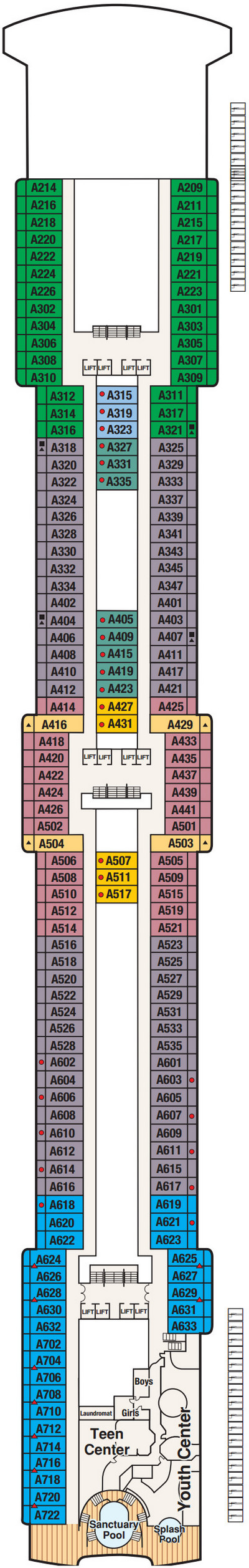 Coral Princess Aloha Deck 12 layout