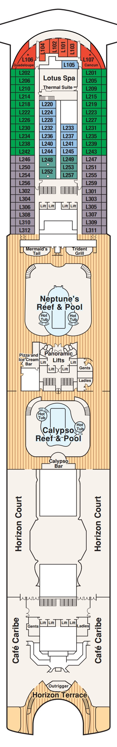 Crown Princess Lido Deck 15 layout