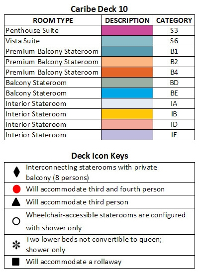 Crown Princess Caribe Deck 10 plan keys