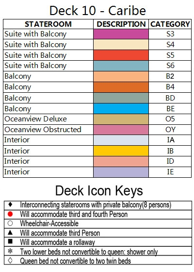 Diamond Princess Caribe Deck 10 plan keys