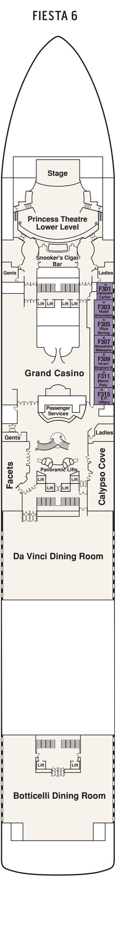Grand Princess Fiesta Deck 6 layout