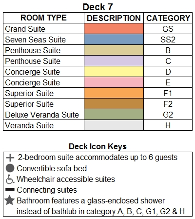 Seven Seas Explorer Deck 7 plan keys