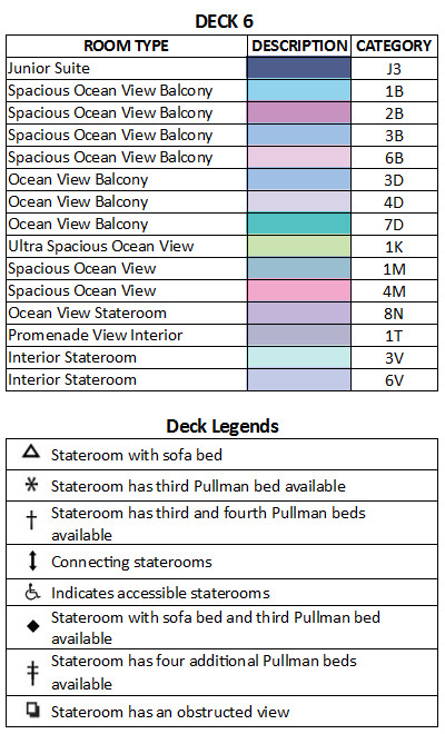 Adventure Of The Seas Deck 6 plan keys