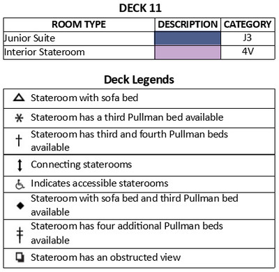 Adventure Of The Seas Deck 11 plan keys