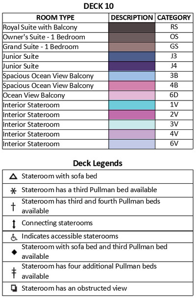 Adventure Of The Seas Deck 10 plan keys