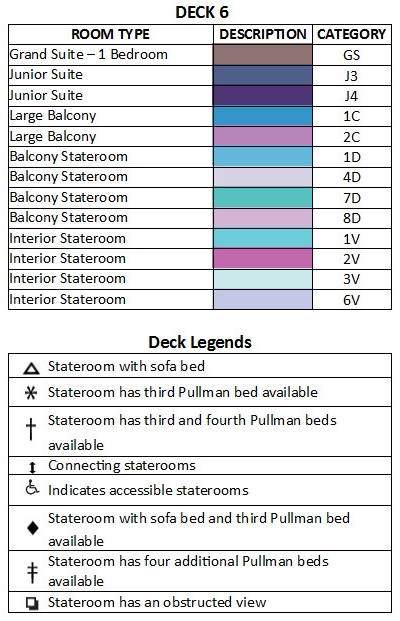 Allure Of The Seas Deck 6 plan keys