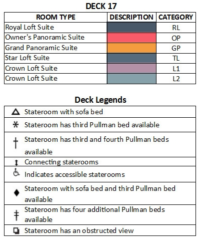 Allure Of The Seas Deck 17 plan keys