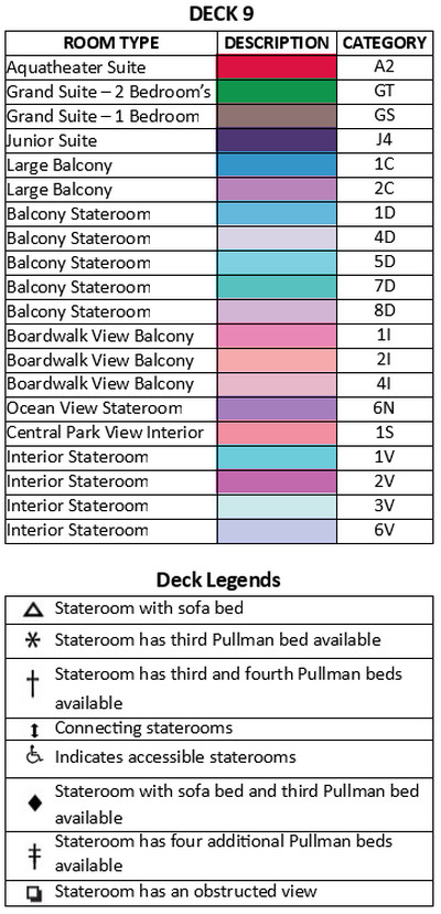 Allure Of The Seas Deck 9 plan keys