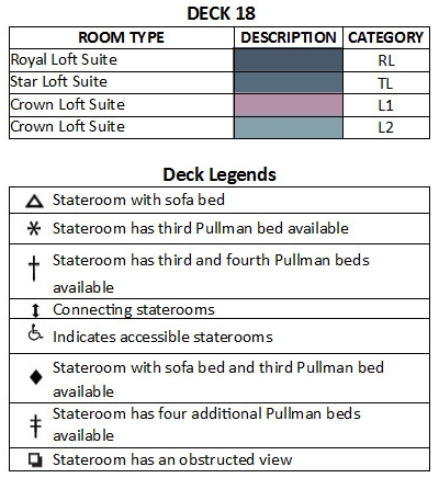 Allure Of The Seas Deck 18 plan keys