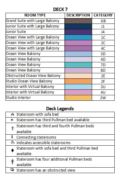 Anthem Of The Seas Deck 7 plan keys