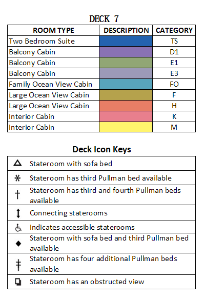 Brilliance Of The Seas Deck 7 plan keys