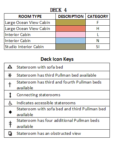 Brilliance Of The Seas Deck 4 plan keys