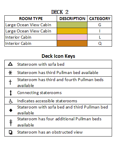 Brilliance Of The Seas Deck 2 plan keys