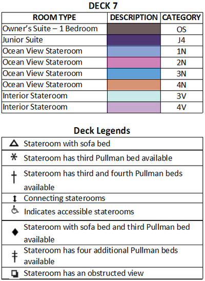 Empress Of The Seas Deck 7 plan keys