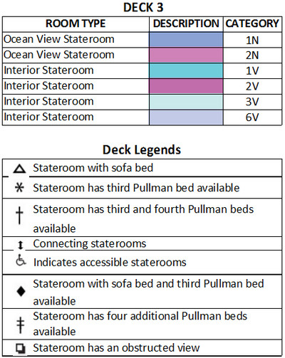 Empress Of The Seas Deck 3 plan keys