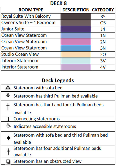 Empress Of The Seas Deck 8 plan keys