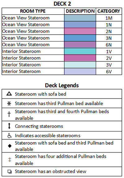 Enchantment Of The Seas Deck 2 plan keys