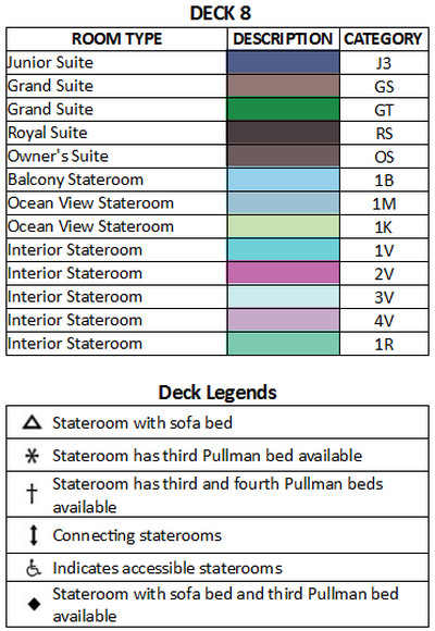 Enchantment Of The Seas Deck 8 plan keys