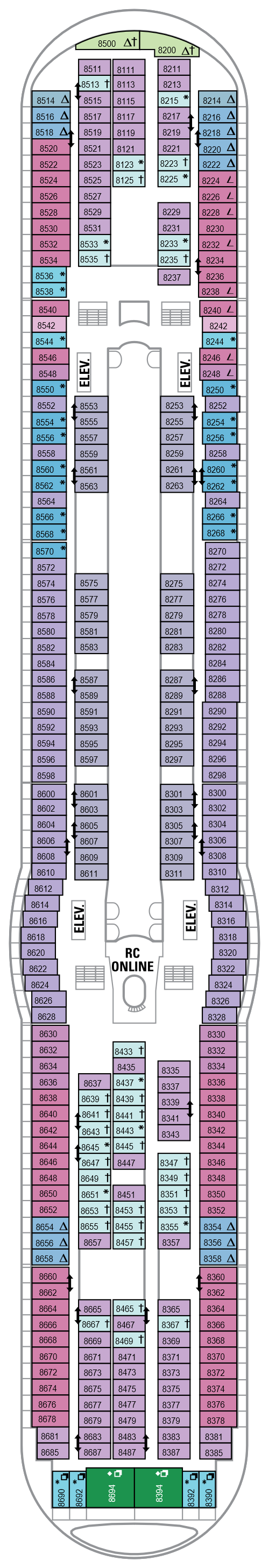 Explorer Of The Seas Deck 8 layout