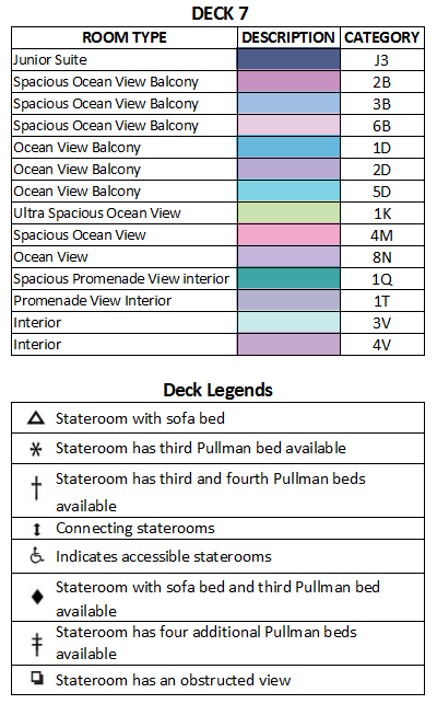 Freedom Of The Seas Deck 7 plan keys