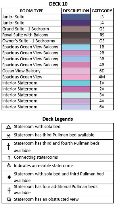 Freedom Of The Seas Deck 10 plan keys