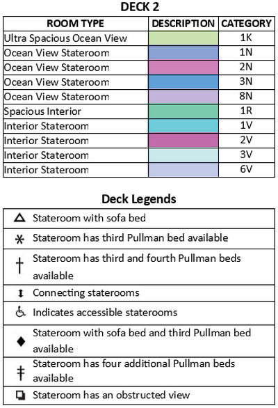 Freedom Of The Seas Deck 2 plan keys