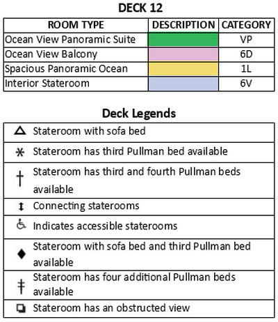 Freedom Of The Seas Deck 12 plan keys