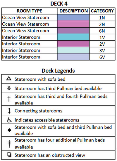 Grandeur Of The Seas Deck 4 plan keys