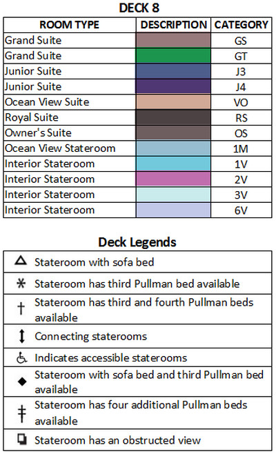 Grandeur Of The Seas Deck 8 plan keys