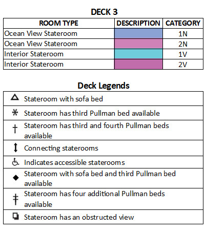 Harmony of the Seas Deck 3 plan keys