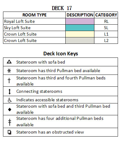 Harmony of the Seas Deck 18 plan keys