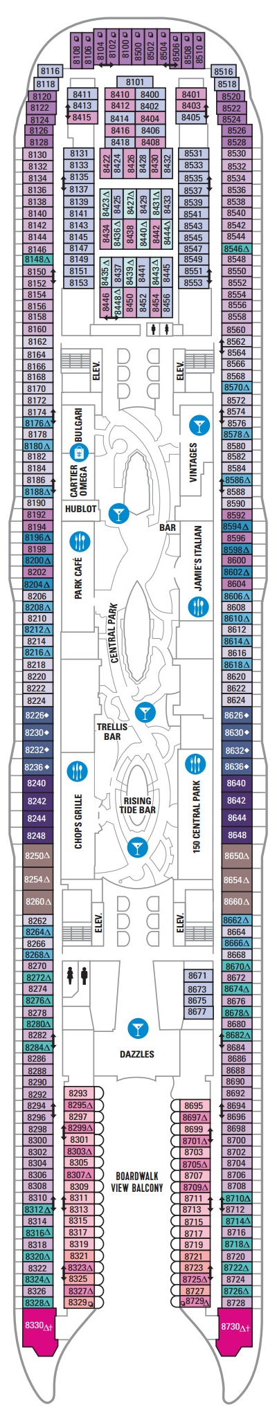 Harmony of the Seas Deck 8 layout