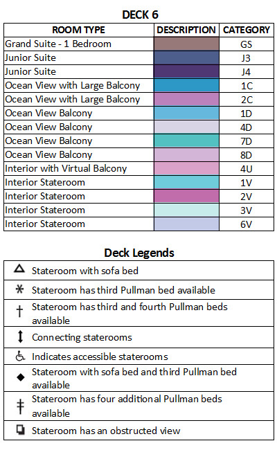Harmony of the Seas Deck 6 plan keys