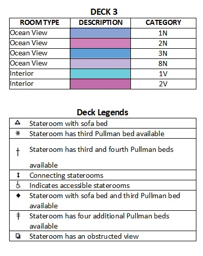 Independence Of The Seas Deck 3 plan keys