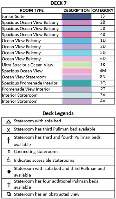 Independence Of The Seas Deck 7 plan keys