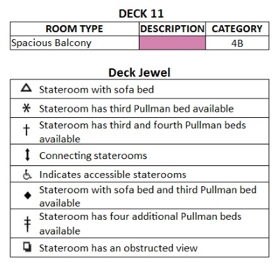 Jewel Of The Seas Deck 11 plan keys