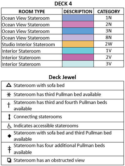 Jewel Of The Seas Deck 4 plan keys