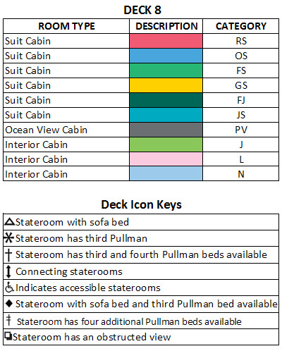 Legend Of The Seas Deck 8 plan keys